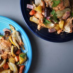 Sheet Pan Roasted Chicken and Carrots
