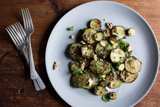 Sautéed Zucchini With Mint, Basil & Walnuts