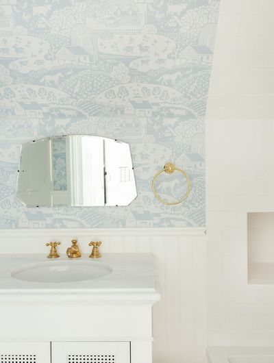 Farrow & Ball's hand-stamped paper in Emily Henderson's new jack and jill bathroom.