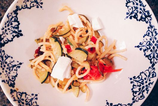 Pasta with Zucchini, Cherry Tomatoes & Mint