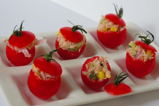 Cherry Tomatoes stuffed with Tuna Melt