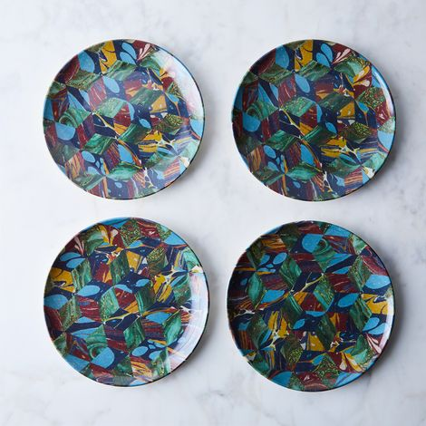 Geometric Print Melamine Plates (Set of 4)