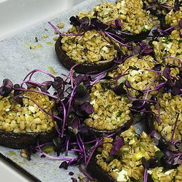 Portobello Mushrooms with Pearled Barley and Preserved Lemon