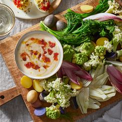 Winter Crudités with Lemony White Bean & Tomato Dip