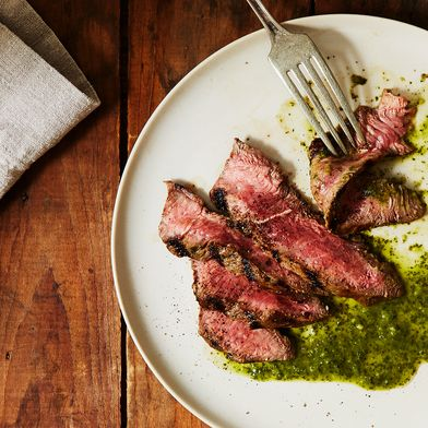 Grilled Steak With Carrot Top Chimichurri Sauce