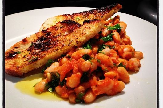 Warm Tuscan Beans and Tomato with Rosemary Salt Toast