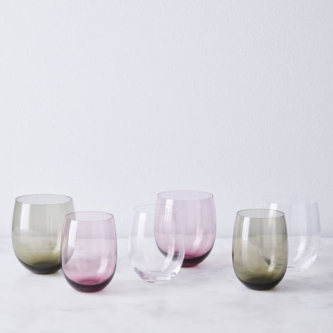 Hand Blown Japanese Round Stemless Wine Glasses