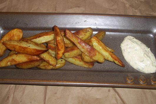 Roasted fingerling potatoes fries with porcini powder