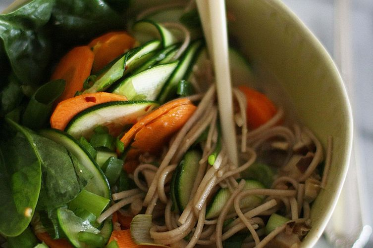 Miso vegetable soup with ginger & chilli