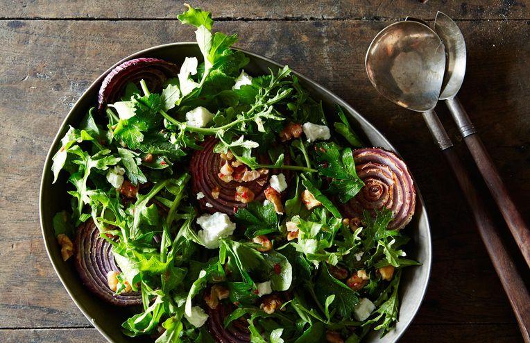 Yotam Ottolenghi's Red Onion Salad with Arugula and Walnut Salsa