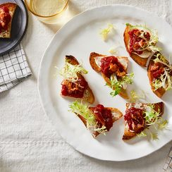 Bacon, Tomato Jam, and Lettuce Canapés