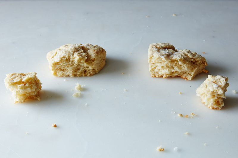 Bakewell Cream biscuits (left) have a slightly airier crumb than baking powder biscuits (right).