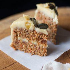 Raw Carrot Cake with Lemon Cashew Cream