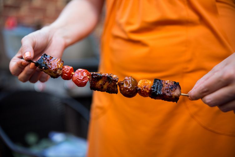 Harissa-Marinated Pork Belly Skewers