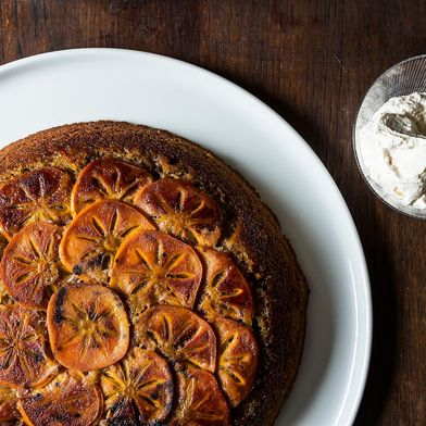 Maple Persimmon Upside-Down Cake with Maple Cream
