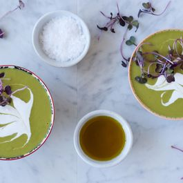 Chilled Pea and Sorrel Soup with Lemon Coconut Cream