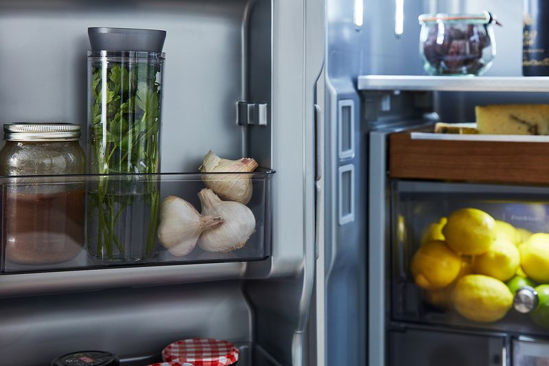 Flush with fresh herbs? Remember to store your bunches straight up (like we're doing here in our FreshSeal™ Herb Storage Container in our new KitchenAid fridge).