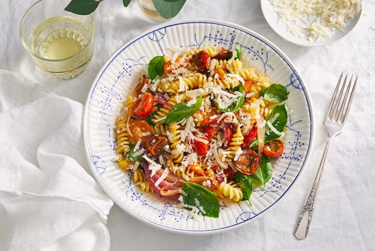 Balsamic-Roasted Red Onion & Cherry Tomato Pasta