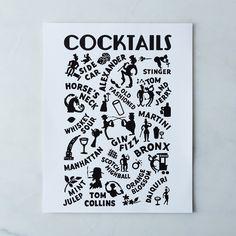Vintage Menu Print: Cocktails Hotel Manteo