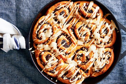 Sweet Potato Cinnamon Buns With Browned Butter Cream Cheese Glaze
