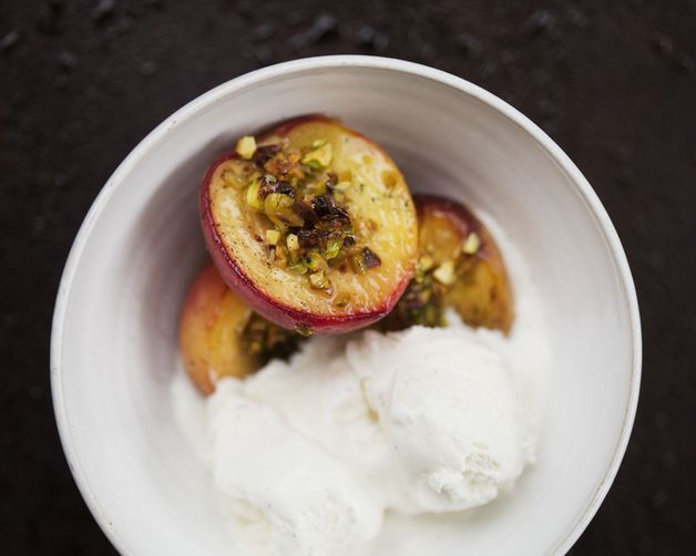 Peaches with Pistachio Crumble