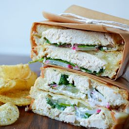 Chicken Panini with Spicy Pickles, Radishes, and Tzatziki