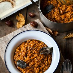 silky smooth chestnut, sage and squash risotto