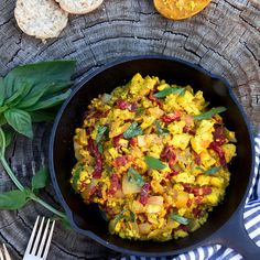 TOFU SCRAMBLE WITH SUNDRIED TOMATOES AND BASIL