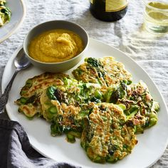 Asparagus & Leek Pancakes with Apple-Miso Mayo
