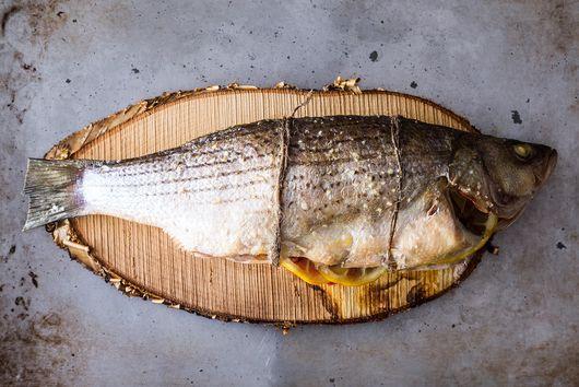 Cedar Plank Grilled Loup De Mer (Sea Bass)