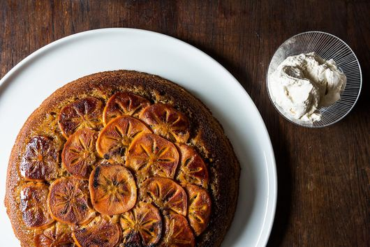Maple Persimmon Upside-Down Cake with Maple Cream