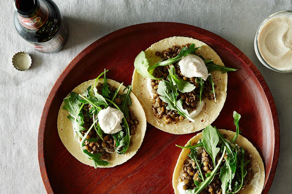 Lentil Tacos with Green Yogurt