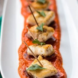 Barramundi Bites with  Romesco Sauce and Chorizo