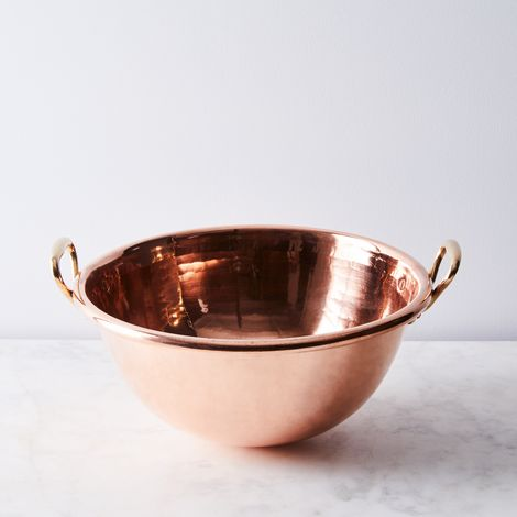 Vintage French Large Copper Mixing Dough Bowl with Brass Handles, Mid 19th Century