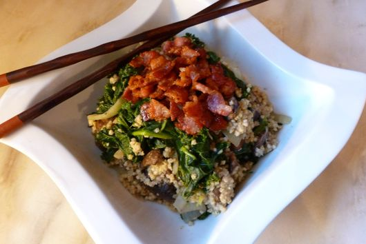 Bacon-Topped Shitakes, Kale and Millet Skillet