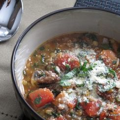 Brown Lentil Soup with Sausage and Spinach