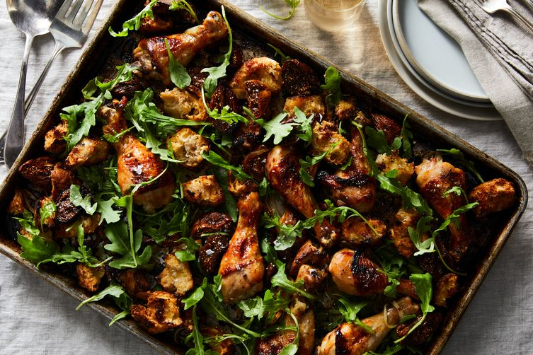 Sheet Pan Chicken with Figs and Bread Salad