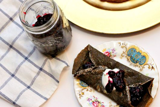 buckwheat crepes with homemade fruit jam