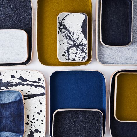 Felt, Denim & Leather Catch-All Tray