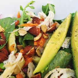 Roast chicken salad with avocado and lemony miso dressing