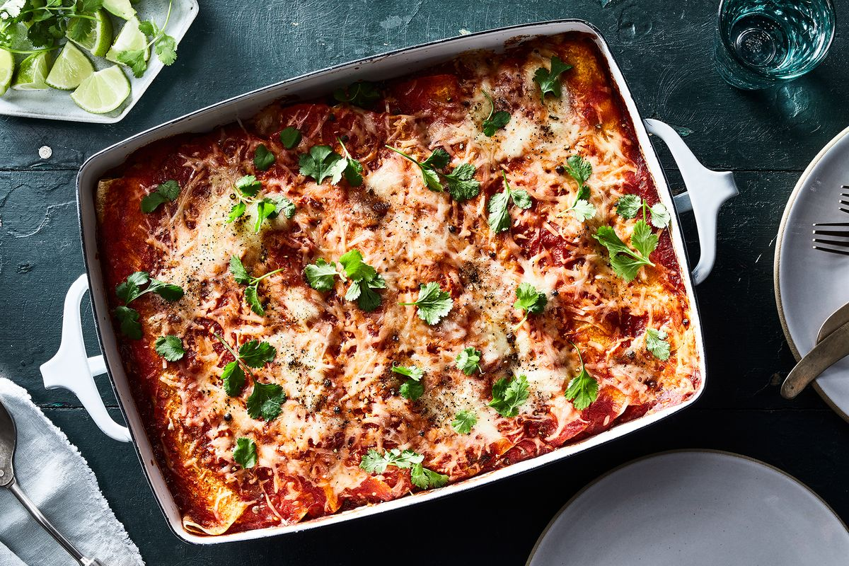 Julia Turshen's Cheesy Roast-Chicken Enchiladas Are the Dinner We're Making on Repeat