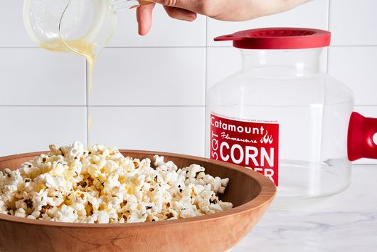 Silicone Handled Glass Popcorn Popper & Butter Warmer