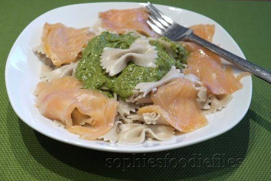 Avocado pesto pasta with smoked salmon