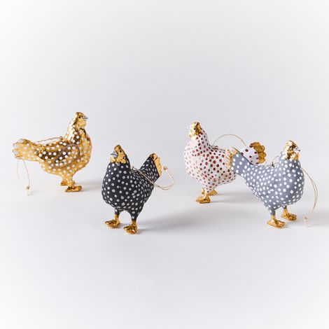 Merriment Hen Ornaments (Set of 4)