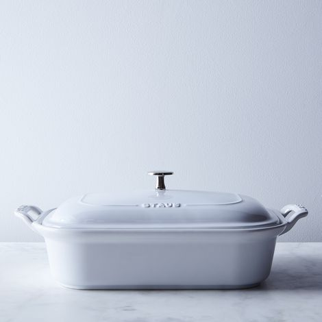 Staub White Ceramic Covered Baking Dish, 4QT