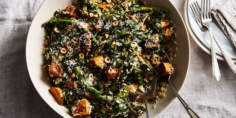 Brown rice, sweet potatoes, broccoli rabe—and hardly a dish to wash!