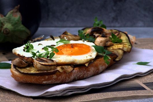 Aubergine, mushrooms and egg bruschetta
