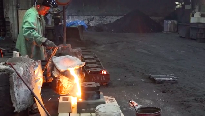 Pouring test skillets at their foundry outside of Chicago.