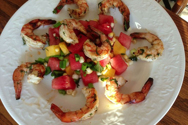 Tequila Lime Grilled Shrimp with Savory Tequila Watermelon Salad