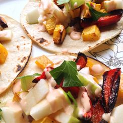 Roasted Butternut Squash Tacos with Crisp Apple & Chipotle-Lime Drizzle